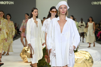 Oroton on the runway at Australian Fashion Week, Carriageworks on June 1.
