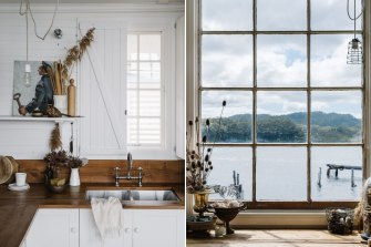 The cabin has stunning views over Lettes Bay and beyond.