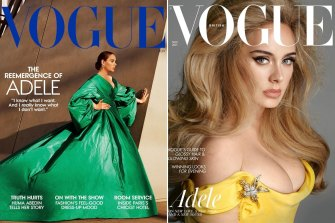 Adele on the cover of US Vogue, photographed by Alasdair McLellan and UK Vogue, photographed by Steven Meisel.